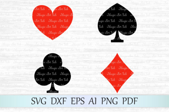 Download Free Playing Card Suits Svg Graphic By Magicartlab Creative Fabrica for Cricut Explore, Silhouette and other cutting machines.