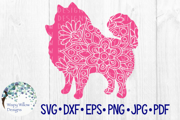 Download Free Pomeranian Floral Mandala Graphic By Wispywillowdesigns for Cricut Explore, Silhouette and other cutting machines.