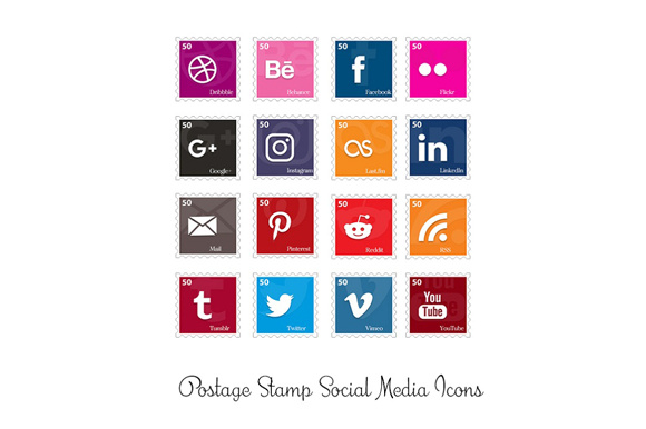 Print on Demand: Postage Stamp Social Media Icons Graphic Icons By Anjana Designs