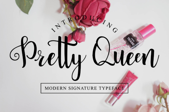 Print on Demand: Pretty Queen Script & Handwritten Font By fanastudio