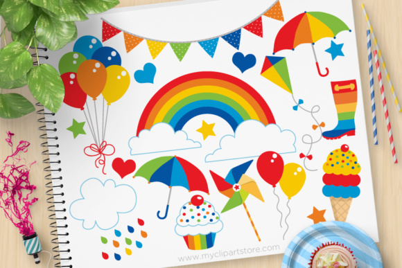 Download Free Primary Rainbow Fun Clipart Graphic By Myclipartstore Creative for Cricut Explore, Silhouette and other cutting machines.