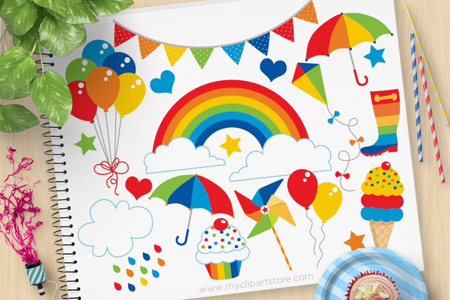 Primary Rainbow Fun Clipart Graphic By Myclipartstore Creative