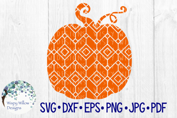 Download Free Pumpkin Geometric Diamond Pattern Graphic By Wispywillowdesigns for Cricut Explore, Silhouette and other cutting machines.