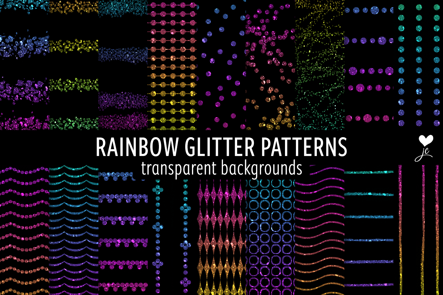 Download Free Rainbow Glitter Patterns Graphic By Juliecampbelldesigns for Cricut Explore, Silhouette and other cutting machines.