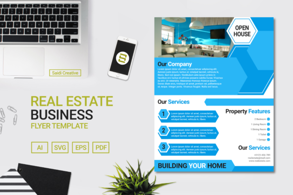 Real Estate Business Flyer Template Design with Blue Light Colour (US Flyer Size) Graphic Print Templates By Saidi Creative