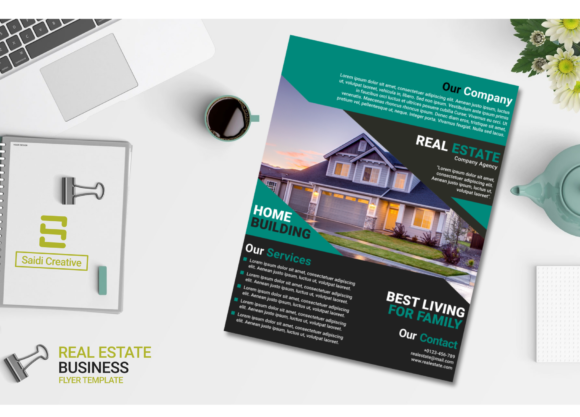 Real Estate Business Flyer Template Design with Teal & Black Color Graphic Download