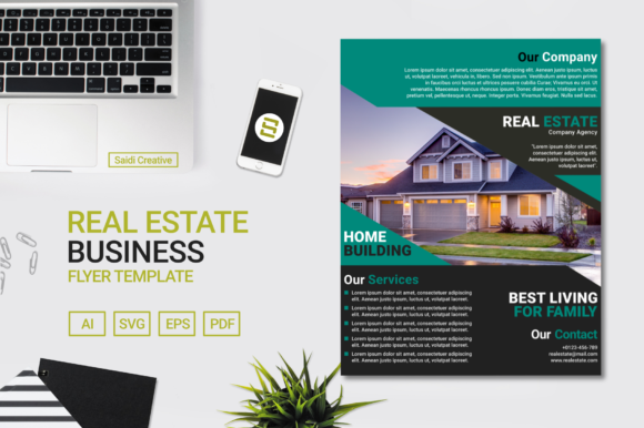 Real Estate Business Flyer Template Design with Teal & Black Color Grafik Druck-Templates von Saidi Creative