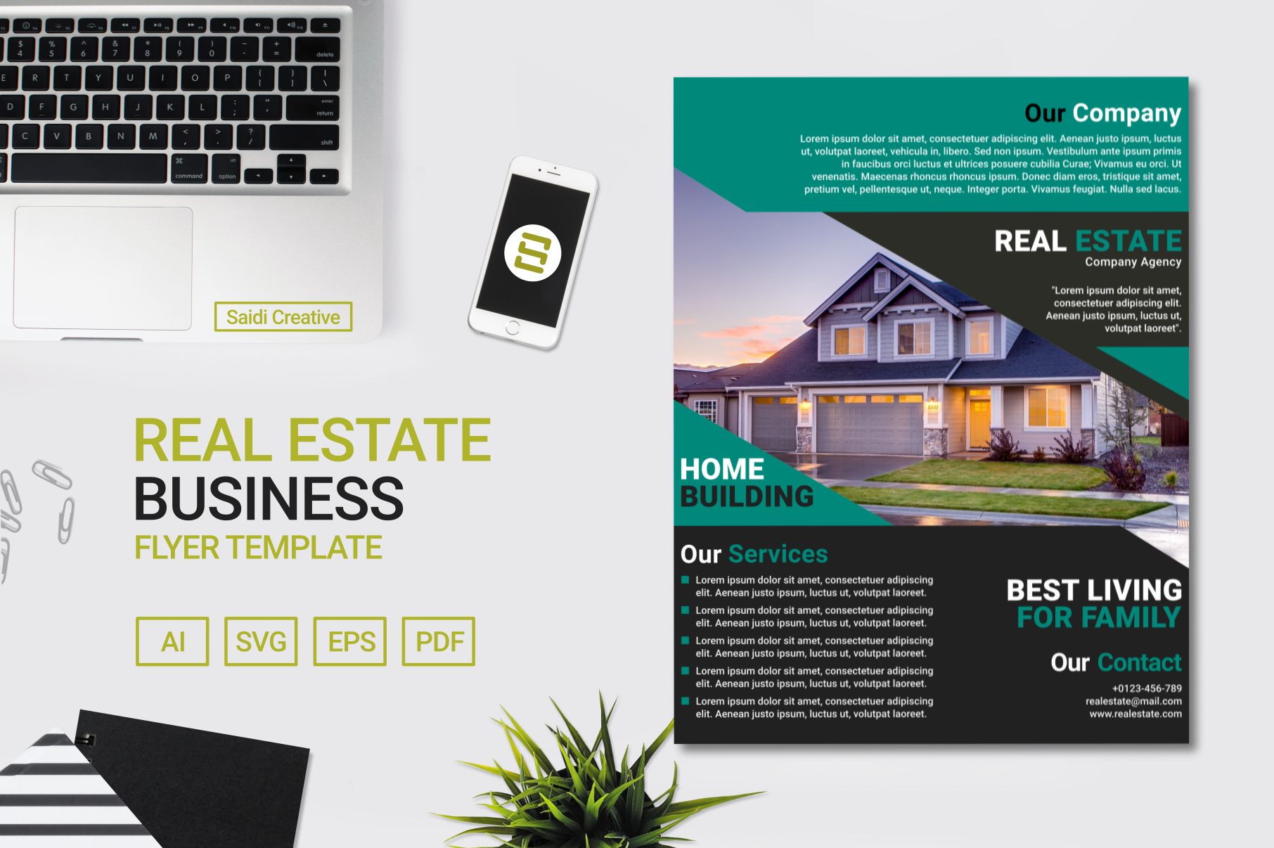 Download Free Real Estate Business Flyer Template Design With Teal Black Color for Cricut Explore, Silhouette and other cutting machines.