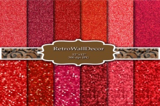 Red Glitter Digital Paper Graphic By retrowalldecor