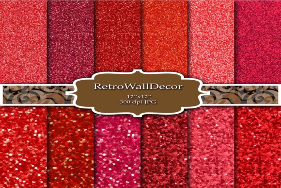 Print on Demand: Red Glitter Digital Paper Graphic Backgrounds By retrowalldecor