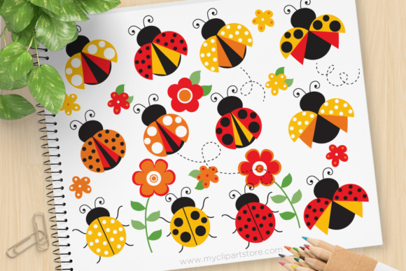 Download Free Red Yellow Ladybug Clipart Graphic By Myclipartstore Creative for Cricut Explore, Silhouette and other cutting machines.