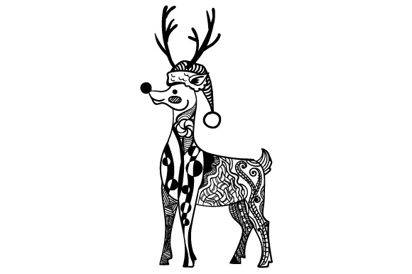 Download Free Reindeer With Christmas Hat Zentangle Svg Cut File By Creative for Cricut Explore, Silhouette and other cutting machines.