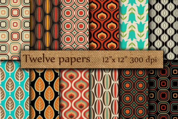 Retro Digital Papers Graphic Backgrounds By twelvepapers