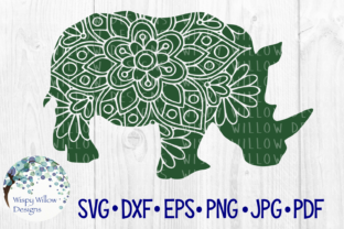 Download Free Rhino Floral Mandala Graphic By Wispywillowdesigns Creative for Cricut Explore, Silhouette and other cutting machines.