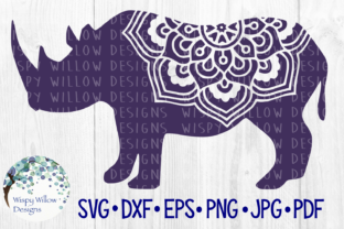 Download Free Rhino Mandala Graphic By Wispywillowdesigns Creative Fabrica for Cricut Explore, Silhouette and other cutting machines.