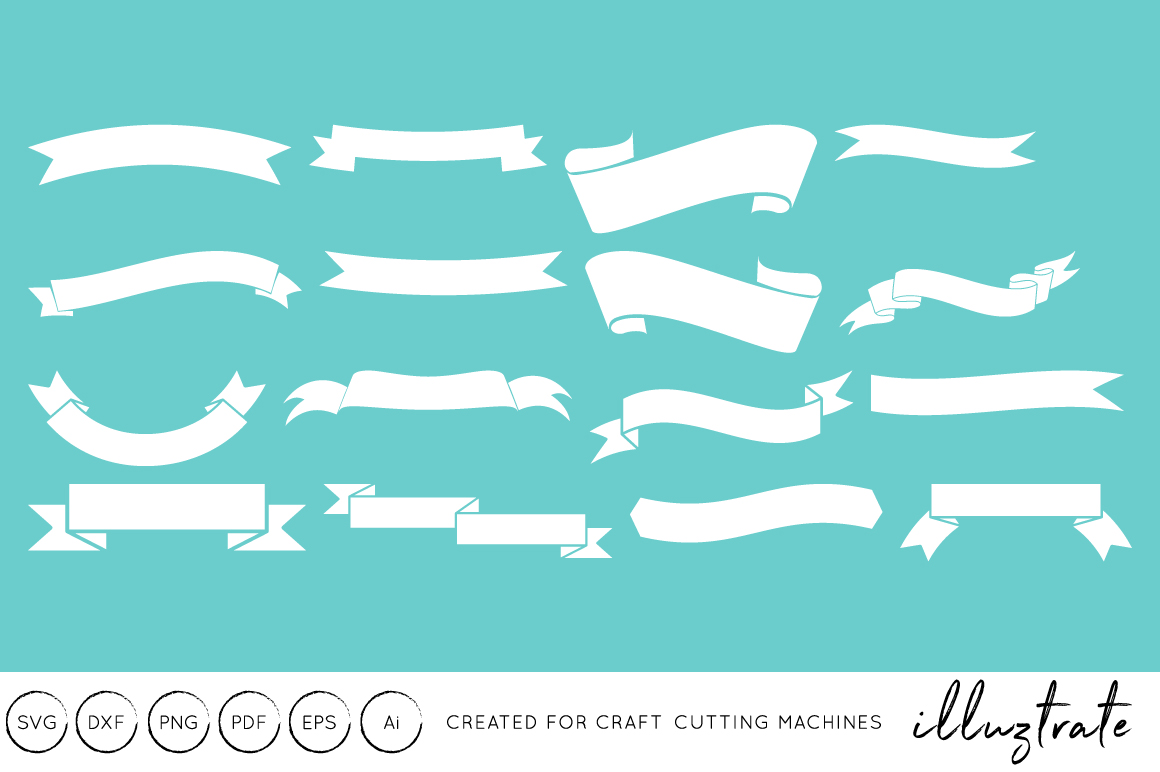Download Free Ribbons Graphic By Illuztrate Creative Fabrica for Cricut Explore, Silhouette and other cutting machines.