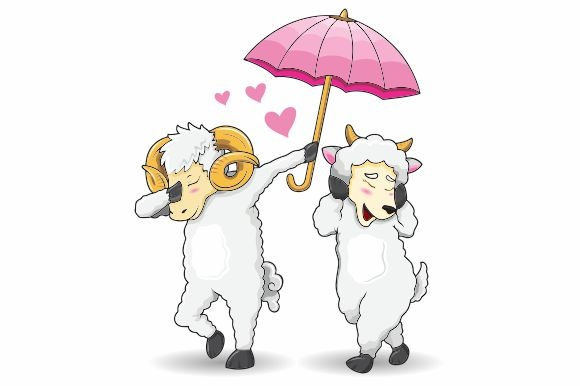 romantic goat of dab style vector graphic by rafin septian
