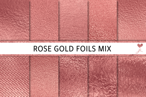 Print on Demand: Rose Gold Foils Mix Graphic Textures By JulieCampbellDesigns