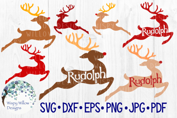 Download Free Rudolph Reindeer Red Nose Graphic By Wispywillowdesigns for Cricut Explore, Silhouette and other cutting machines.