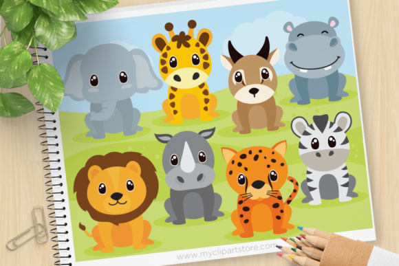 Print on Demand: Safari Animals Clipart Graphic Illustrations By MyClipArtStore - Image 1