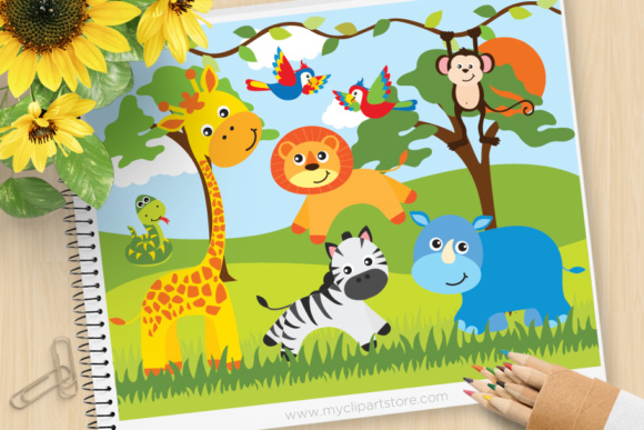 Download Free Safari Animals Clipart Graphic By Myclipartstore Creative Fabrica for Cricut Explore, Silhouette and other cutting machines.