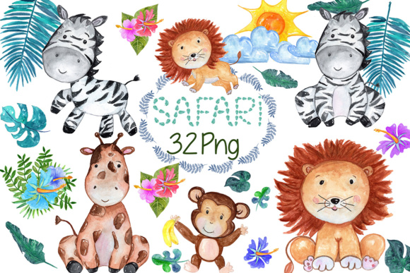 Safari Animals, Lion Clipart Graphic Illustrations By vivastarkids