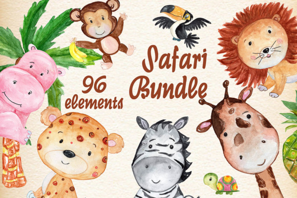 Safari Animals Watercolor Bundle Graphic Illustrations By vivastarkids