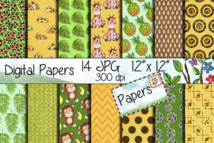 Print on Demand: Safari Kraft Digital Paper Pack Graphic Backgrounds By vivastarkids