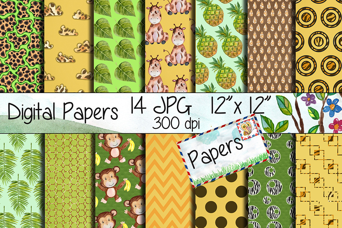Download Free Safari Kraft Digital Paper Pack Graphic By Vivastarkids for Cricut Explore, Silhouette and other cutting machines.
