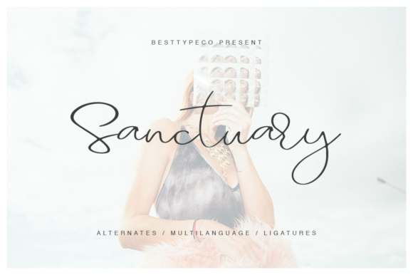 Print on Demand: Sanctuary Script & Handwritten Font By besttypeco