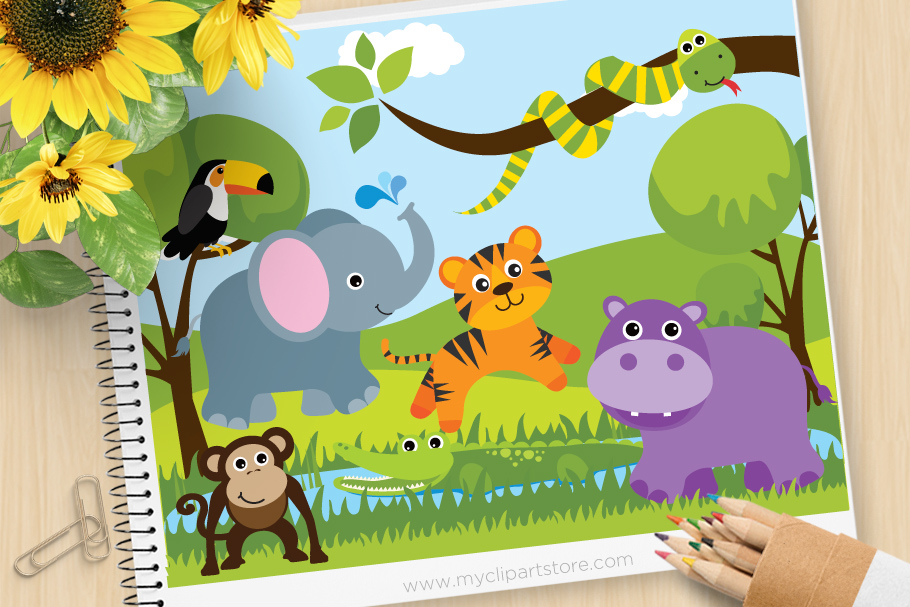 Savannah Zoo Animal Clipart Graphic by MyClipArtStore ...