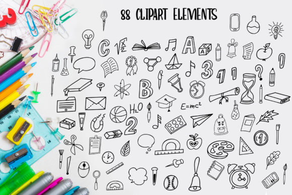 School Days Clipart Lettering Graphic Illustrations By tregubova.jul - Image 5