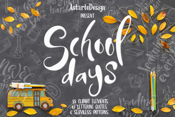 School Days Clipart Lettering Graphic Illustrations By tregubova.jul - Image 1