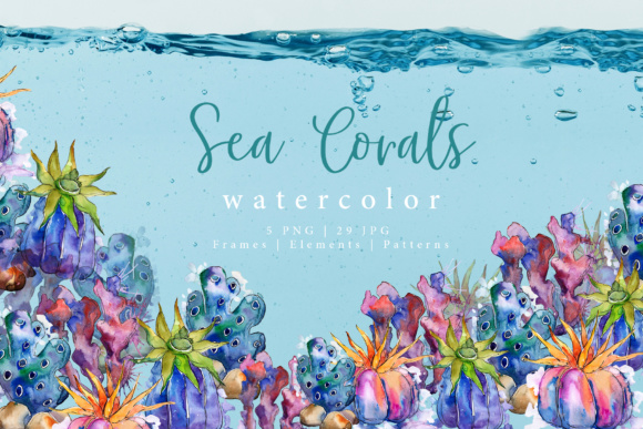 Print on Demand: Sea Corals Watercolor PNG Set Graphic Illustrations By MyStocks