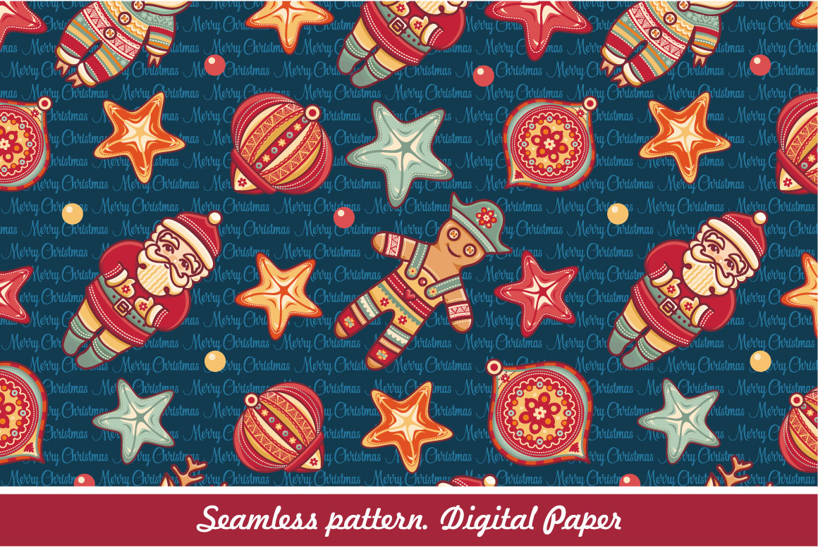 Download Free Seamless Christmas Pattern Digital Paper Graphic By Zoyali for Cricut Explore, Silhouette and other cutting machines.