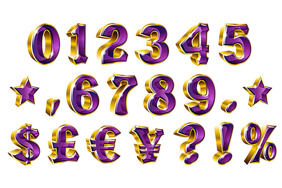Download Free Set Of Vector Shiny Gold Numbers And Currency Symbols Graphic By for Cricut Explore, Silhouette and other cutting machines.