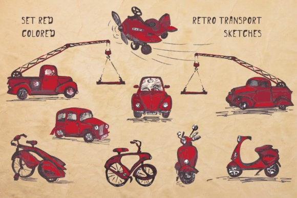 Download Free Set Of Hand Drawn Retro Transport Ink Sketches Graphic By Z for Cricut Explore, Silhouette and other cutting machines.