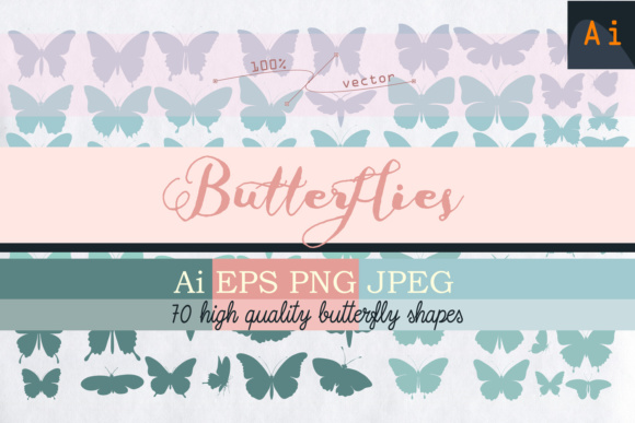 Set of Vector Butterfly Shapes Graphic Objects By fleurartmariia