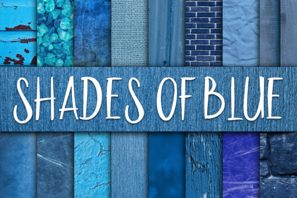 Print on Demand: Shades of Blue Digital Paper Textures Graphic Backgrounds By oldmarketdesigns