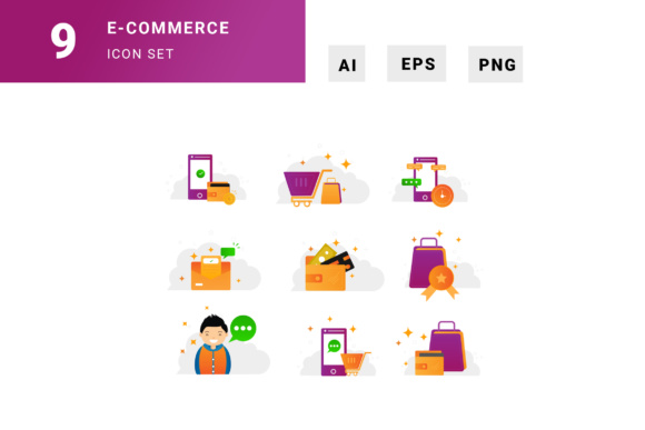Shopping Icon Set Graphic Illustrations By TMint