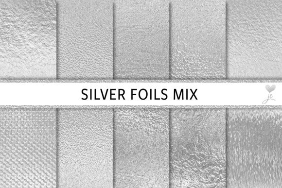 Print on Demand: Silver Foils Mix Grafik Texturen von JulieCampbellDesigns