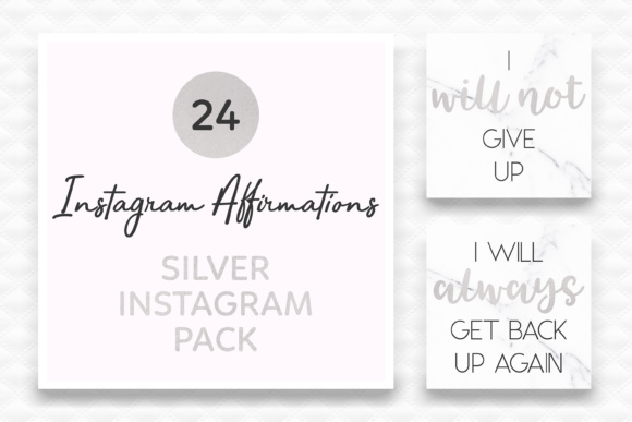 Silver Instagram Affirmations   Social Media Affirmations Graphic By Kelly Maree Design Image 1