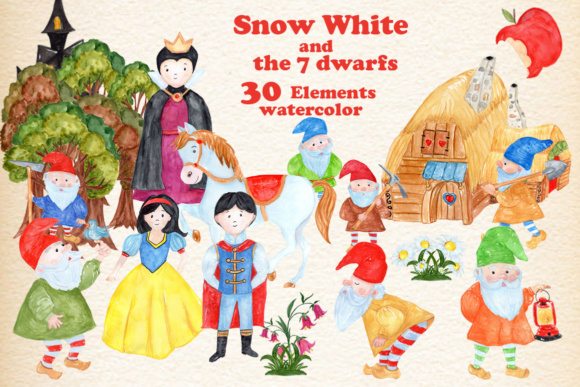 Snow White Princess Clipart Graphic Illustrations By vivastarkids