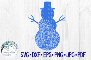 Download Free Snowman Floral Mandala Winter Snow Graphic By for Cricut Explore, Silhouette and other cutting machines.