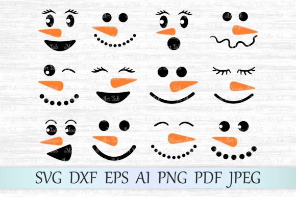 Download Free Christmas Snowman Faces Graphic By Magicartlab Creative Fabrica for Cricut Explore, Silhouette and other cutting machines.