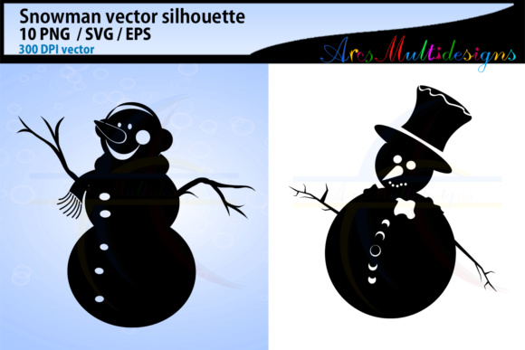 Snowman Silhouette Svg Clipart Graphic By Arcs