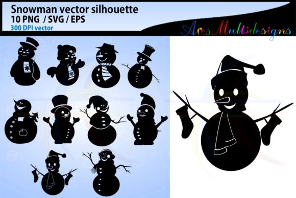 Download Free Snowman Silhouette Clipart Graphic By Arcs Multidesigns for Cricut Explore, Silhouette and other cutting machines.
