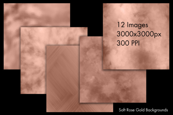 Print on Demand: Soft Rose Gold Backgrounds - 12 Image Set Graphic Backgrounds By SapphireXDesigns - Image 2