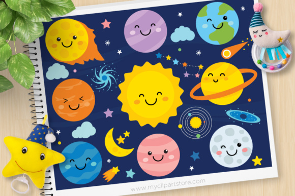 Print on Demand: Solar System Clipart Graphic Illustrations By MyClipArtStore