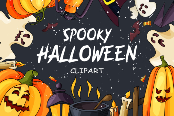 Spooky Halloween Clipart Graphic Illustrations By tregubova.jul